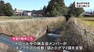 富山市の住宅地にクマ 1頭駆除
